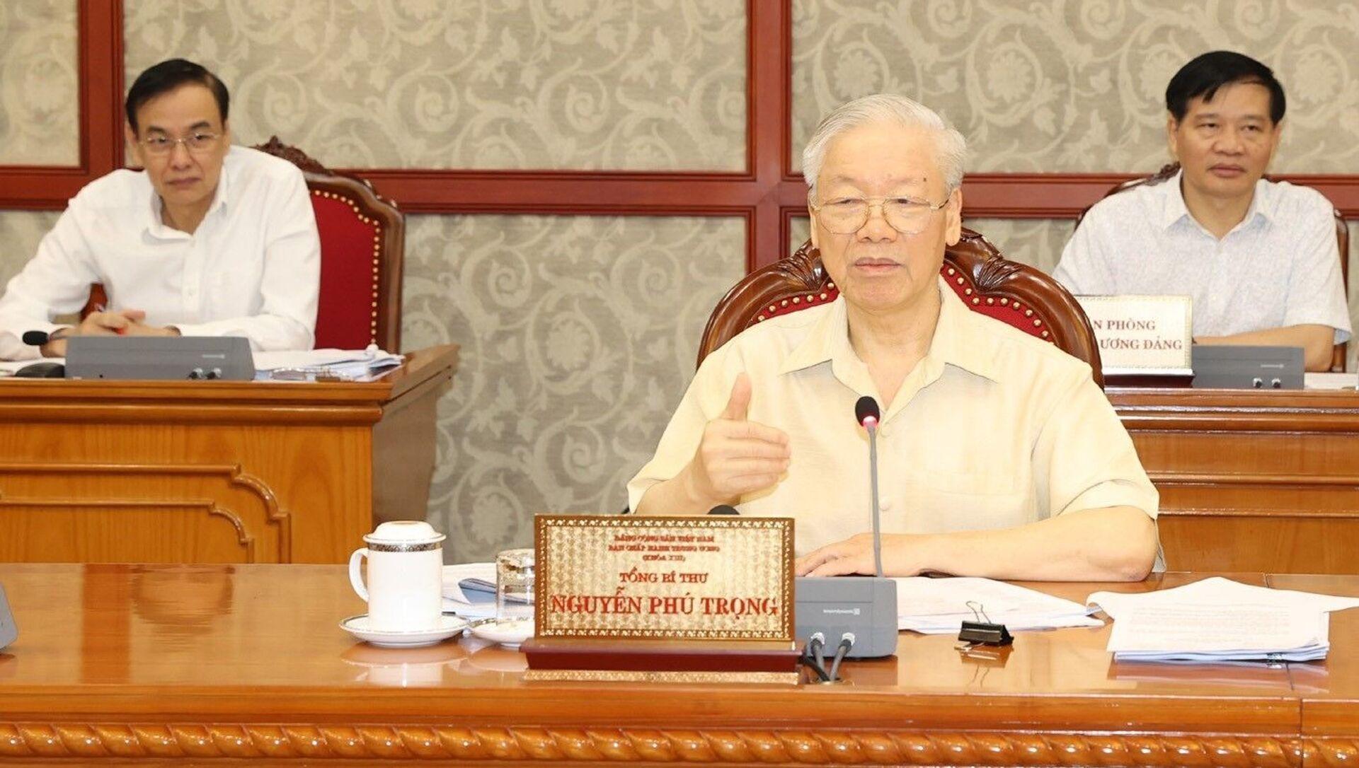 Tổng Bí thư Nguyễn Phú Trọng phát biểu kết luận cuộc họp. Ảnh:  - Sputnik Việt Nam, 1920, 17.09.2021