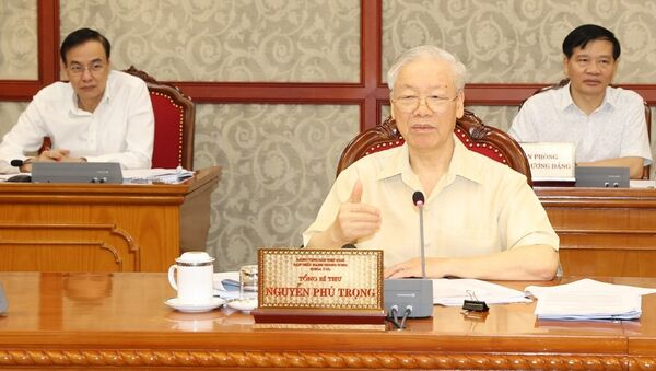 Tổng Bí thư Nguyễn Phú Trọng phát biểu kết luận cuộc họp. Ảnh:  - Sputnik Việt Nam