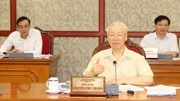 Tổng Bí thư Nguyễn Phú Trọng phát biểu kết luận cuộc họp. - Sputnik Việt Nam