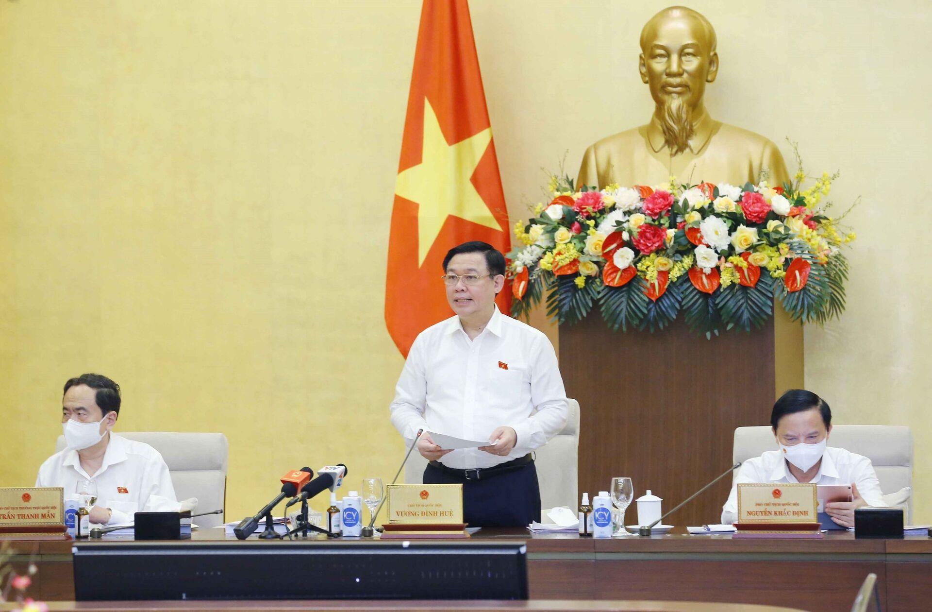 Chủ tịch Quốc hội Vương Đình Huệ phát biểu bế mạc. - Sputnik Việt Nam, 1920, 05.10.2021