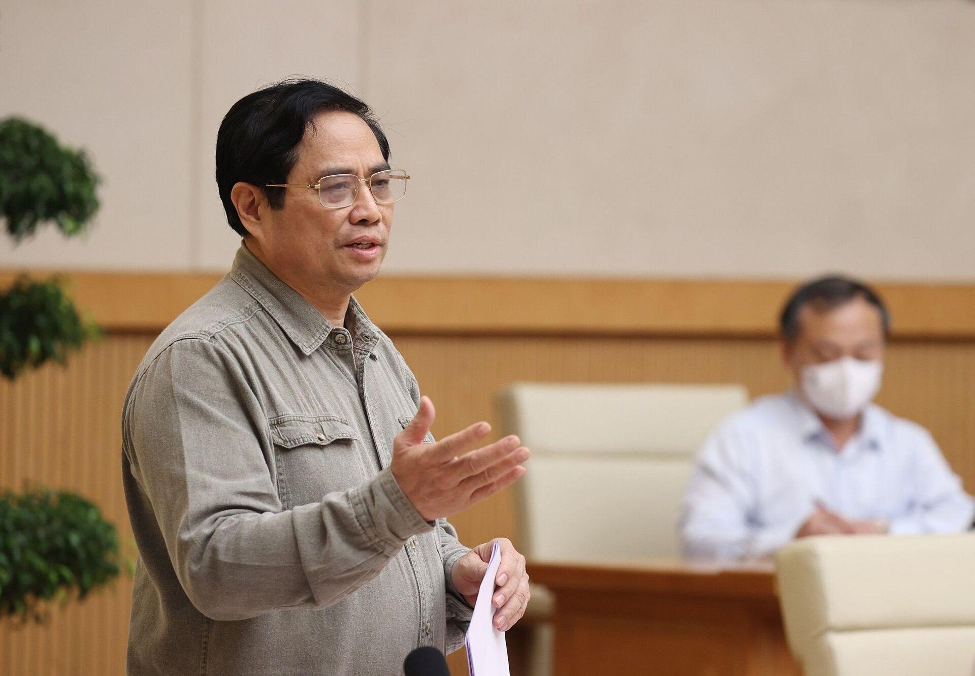 Thủ tướng Phạm Minh Chính chủ trì họp Ban Chỉ đạo Quốc gia phòng, chống dịch COVID-19 - Sputnik Việt Nam, 1920, 05.10.2021