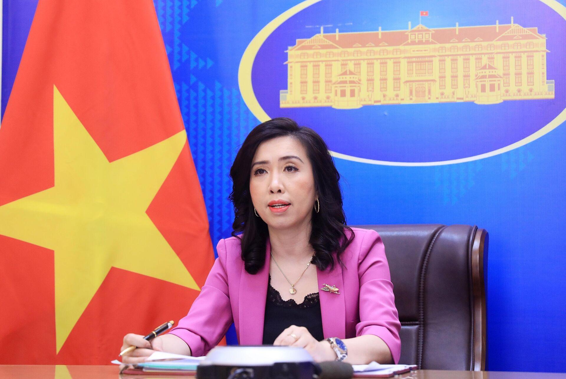 Người phát ngôn Bộ Ngoại giao Lê Thị Thu Hằng chủ trì họp báo - Sputnik Việt Nam, 1920, 05.10.2021