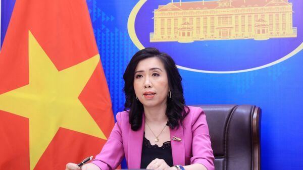 Người phát ngôn Bộ Ngoại giao Lê Thị Thu Hằng chủ trì họp báo - Sputnik Việt Nam