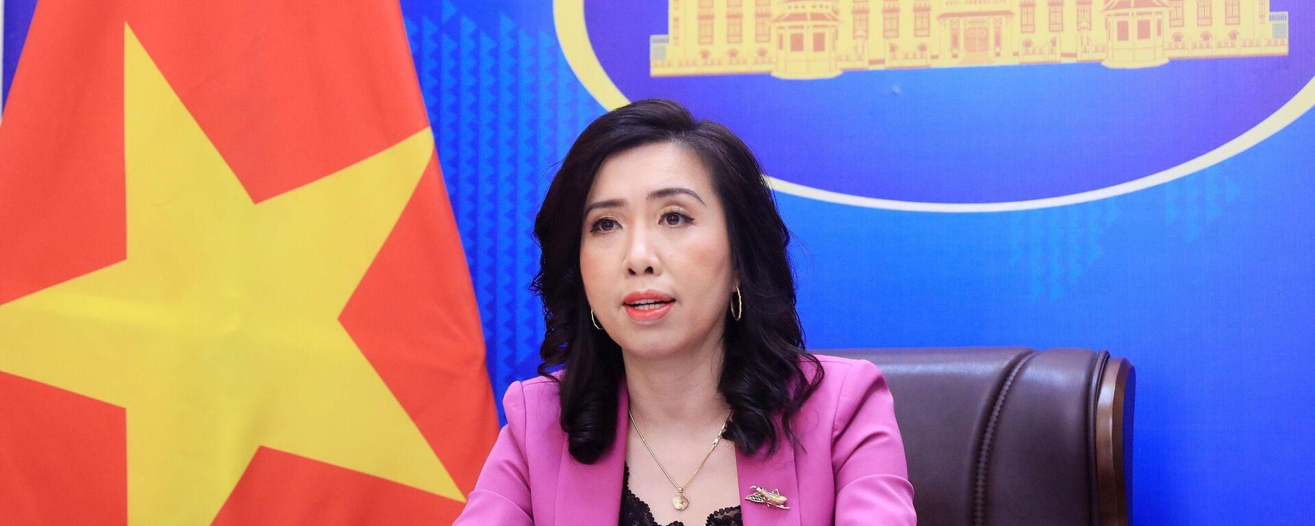 Người phát ngôn Bộ Ngoại giao Lê Thị Thu Hằng chủ trì họp báo - Sputnik Việt Nam, 1920, 07.10.2021
