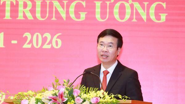 Đồng chí Võ Văn Thưởng, Uỷ viên Bộ Chính trị, Thường trực Ban Bí thư phát biểu tại buổi lễ. - Sputnik Việt Nam