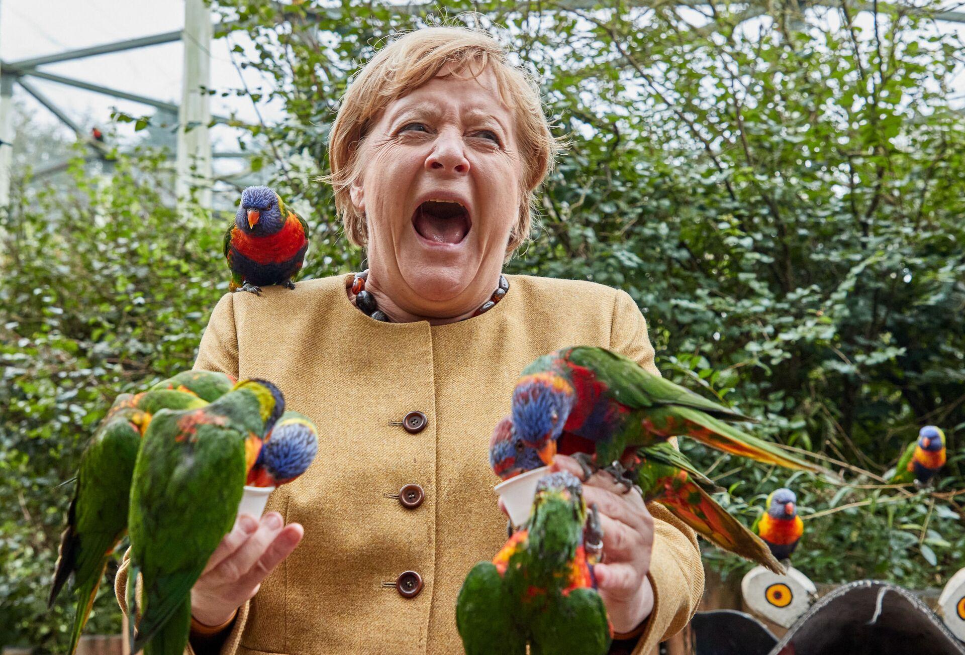 Thủ tướng Đức Angela Merkel trong Vườn chim ở Marlow - Sputnik Việt Nam, 1920, 05.10.2021