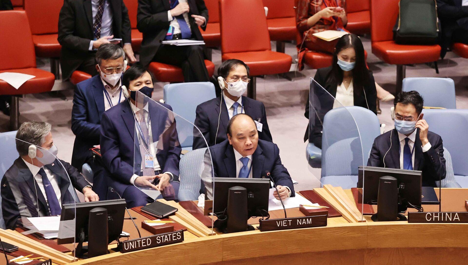 Chủ tịch nước Nguyễn Xuân Phúc phát biểu tại Phiên thảo luận cấp cao của Hội đồng Bảo an về Biến đổi khí hậu. - Sputnik Việt Nam, 1920, 24.09.2021