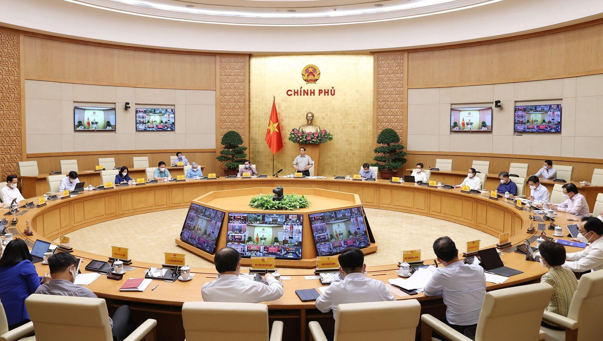 Quang cảnh cuộc họp tại điểm cầu Chính phủ - Sputnik Việt Nam, 1920, 25.09.2021