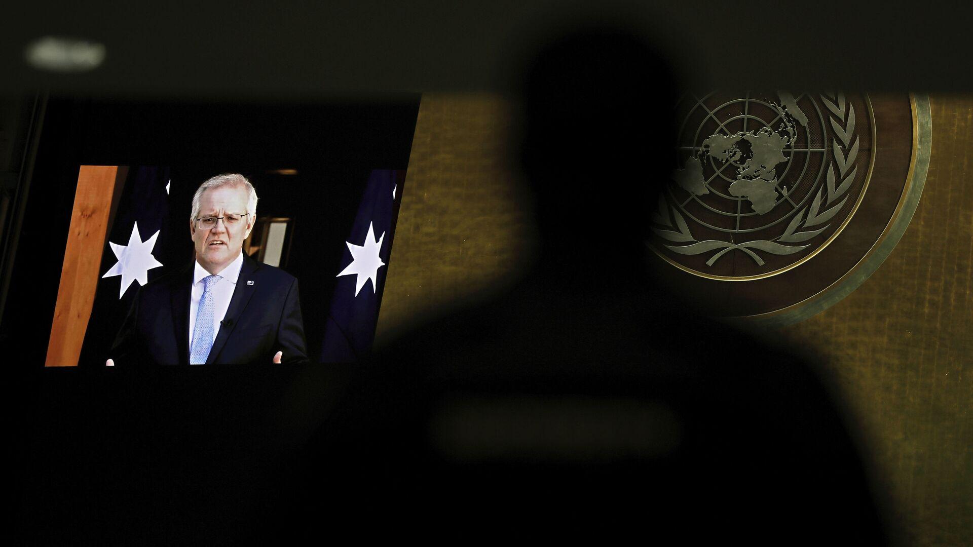 Thủ tướng Úc Scott Morrison phát biểu tại phiên họp thứ 76 của Đại hội đồng Liên hợp quốc - Sputnik Việt Nam, 1920, 25.09.2021