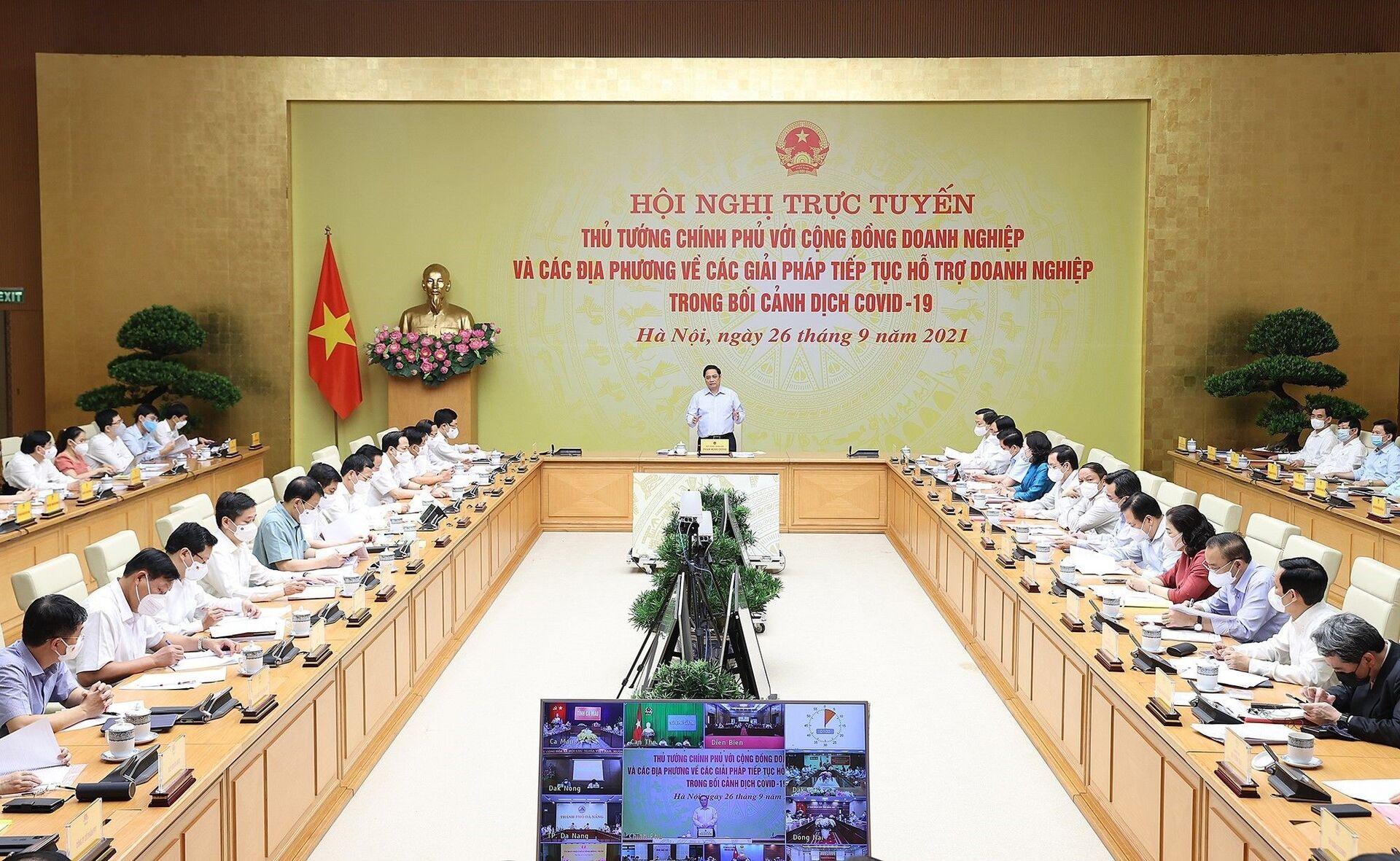 Thủ tướng Phạm Minh Chính chủ trì Hội nghị bàn giải pháp hỗ trợ doanh nghiệp trong bối cảnh dịch COVID-19 - Sputnik Việt Nam, 1920, 05.10.2021