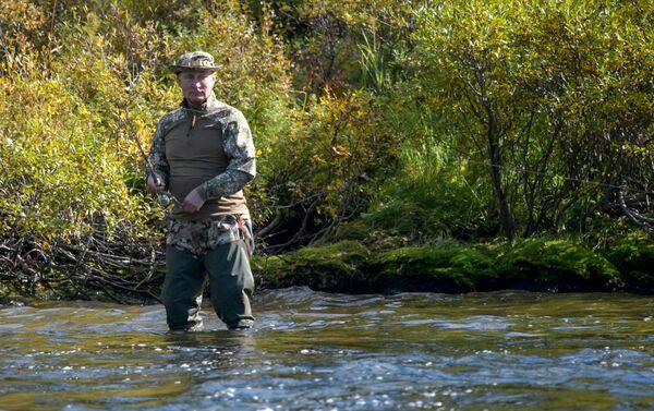 Tổng thống Vladimir Putin câu cá trong rừng taiga - Sputnik Việt Nam