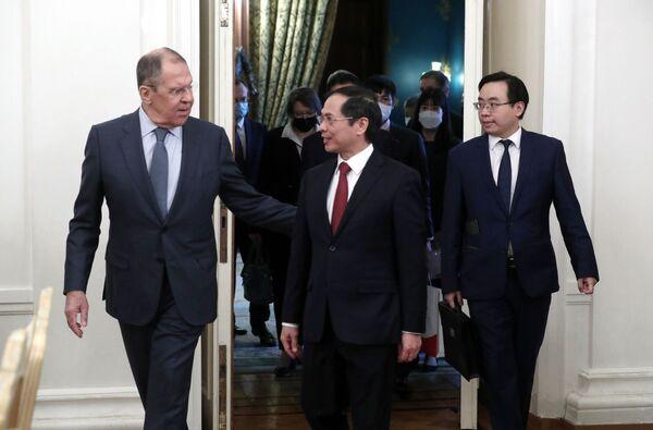 Cuộc họp báo của Bộ trưởng Ngoại giao Liên bang Nga Sergei Lavrov và Bộ trưởng Ngoại giao Việt Nam Bùi Thanh Sơn - Sputnik Việt Nam