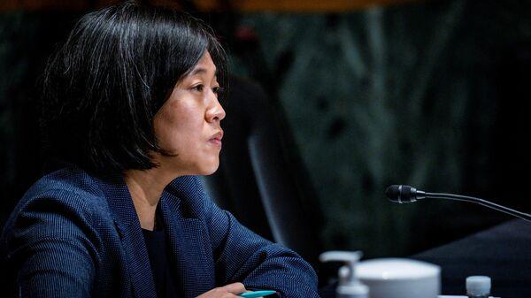 Đại diện Thương mại Hoa Kỳ Katherine Tai điều trần trước Ủy ban Tài chính Thượng viện trên Đồi Capitol ở Washington, Hoa Kỳ - Sputnik Việt Nam
