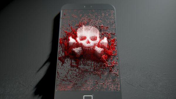 Изображение черепа с костями на экране мобильного телефона - Sputnik Việt Nam