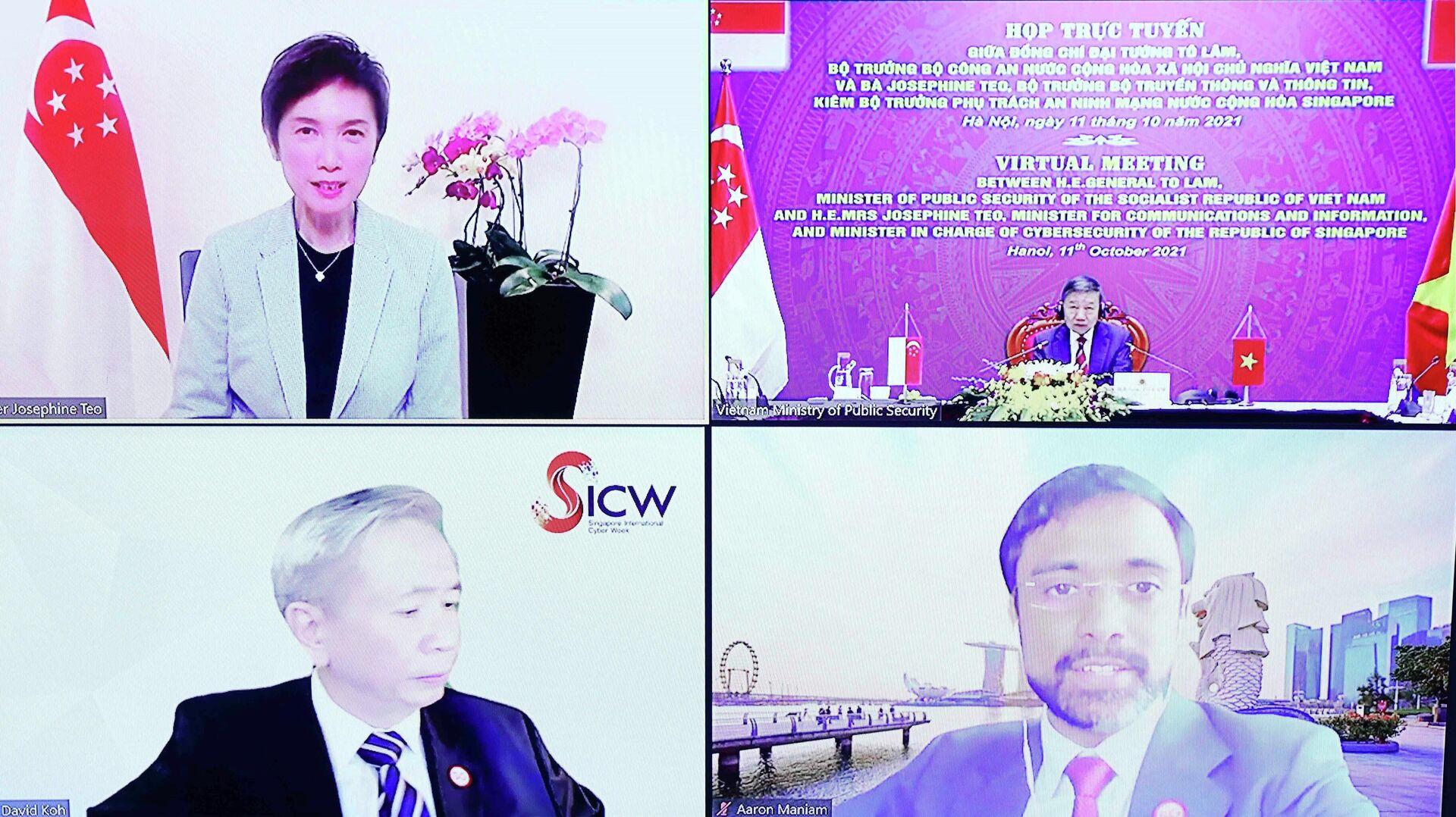Bộ trưởng Công an Tô Lâm họp trực tuyến với Bộ trưởng Bộ Truyền thông và Thông tin kiêm Bộ trưởng phụ trách an ninh mạng Singapore - Sputnik Việt Nam, 1920, 11.10.2021