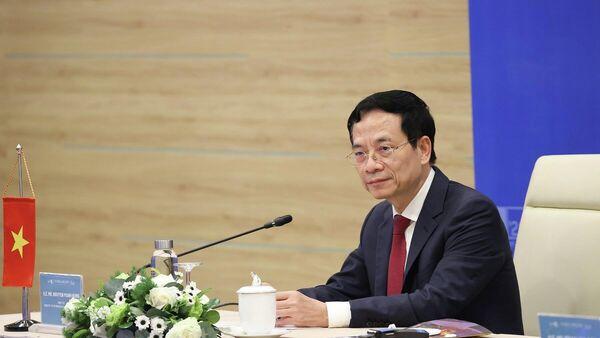 Bộ trưởng Bộ Thông tin và Truyền thông Nguyễn Mạnh Hùng phát biểu tại Hội nghị Bộ trưởng ITU Digital World 2021  - Sputnik Việt Nam