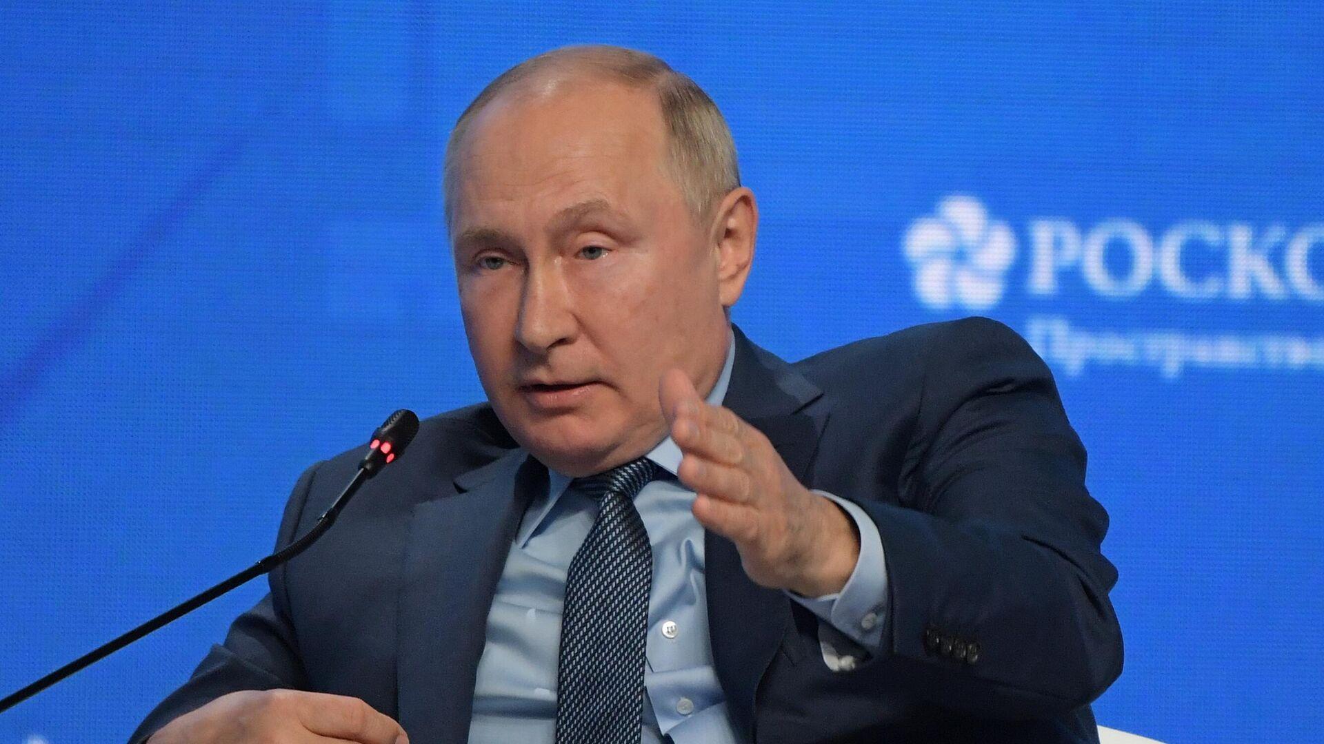 Tổng thống Nga V.Putin tham gia phiên họp toàn thể của diễn đàn«Tuần lễ Năng lượng Nga» - Sputnik Việt Nam, 1920, 13.10.2021