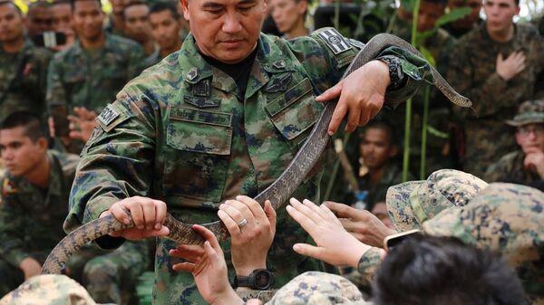 Солдаты со змеями во время учений Cobra Gold в Таиланде - Sputnik Việt Nam