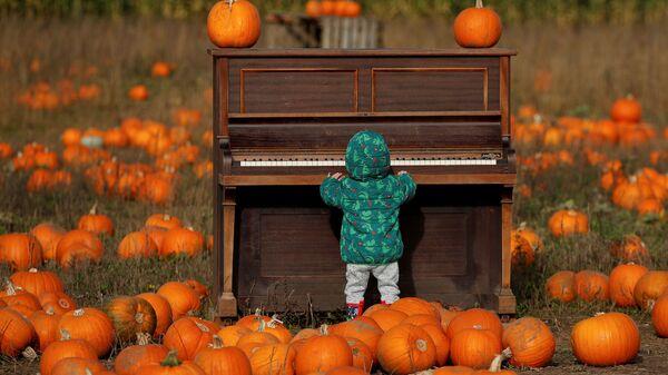 Ребенок играет на пианино на тыквенном поле фермы Pop Up Farm в Великобритании в преддверии Хэллоуина - Sputnik Việt Nam