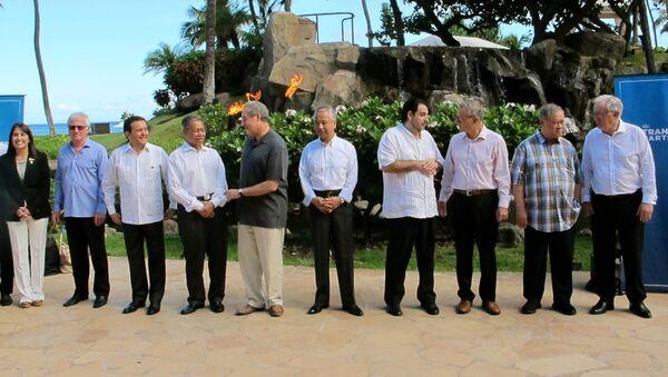 Tại New Zealand, bộ trưởng thương mại 12 quốc gia trong khu vực châu Á-Thái Bình Dương đã ký kết Hiệp định đối tác xuyên Thái Bình Dương (TPP) - Sputnik Việt Nam