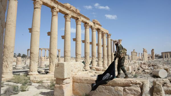 """Chiến sĩ đội dân quân """"Chim ưng sa mạc"""" với lá cờ Daesh ở phần lịch sử của Palmyra - Sputnik Việt Nam"""