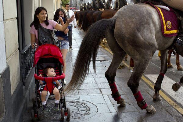 Người phụ nữ và đứa bé sau vó ngựa của cảnh sát trong cuộc trình diễn tại Lima, Peru - Sputnik Việt Nam