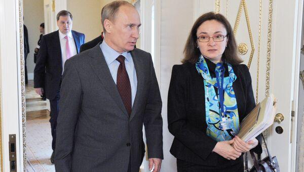Tổng thống Nga Vladimir Putin và Thống đốc Ngân hàng Trung ương Nga  Elvira Nabiullina - Sputnik Việt Nam