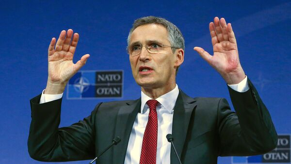 NATO Secretary-General Jens Stoltenberg gestures during a news conference ahead of a NATO defense ministers meeting, which will be held on February 10-11, at the Alliance's headquarters in Brussels, Belgium February 9, 2016. - Sputnik Việt Nam