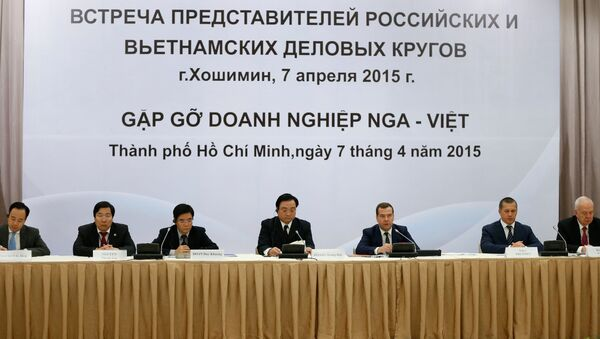 Thủ tướng LB Nga Medvedev  tại buổi gặp gỡ đại diện giới doanh nghiệp Nga và Việt Nam - Sputnik Việt Nam