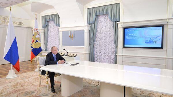 Từ điện Kremlin ông Putin bấm nút cho tàu chở dầu đầu tiên xuất phát từ Cửa Bắc Cực - Sputnik Việt Nam