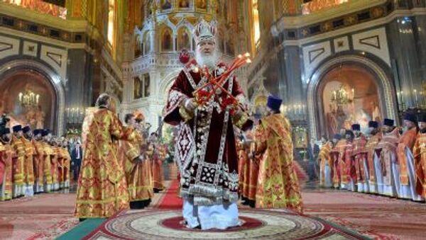 Đại giáo chủ Moskva và toàn Nga Kirill làm lễ phụng vụ Phục Sinh tại nhà thờ chính tòa Chúa Cứu Thế  Moskva - Sputnik Việt Nam