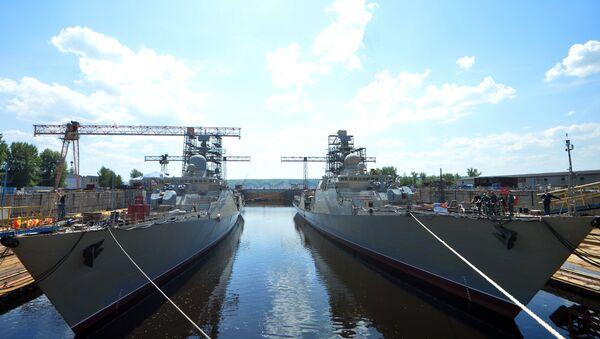 Hạ thủy tàu Gepard 3.9 thứ tư xây dựng cho Hải quân Việt Nam - Sputnik Việt Nam