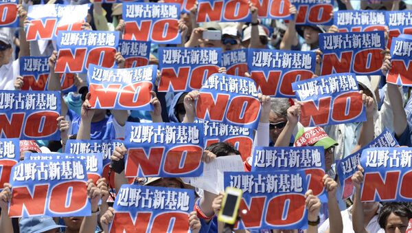 Những người phản đối xây dựng căn cứ Mỹ ở Okinawa - Sputnik Việt Nam