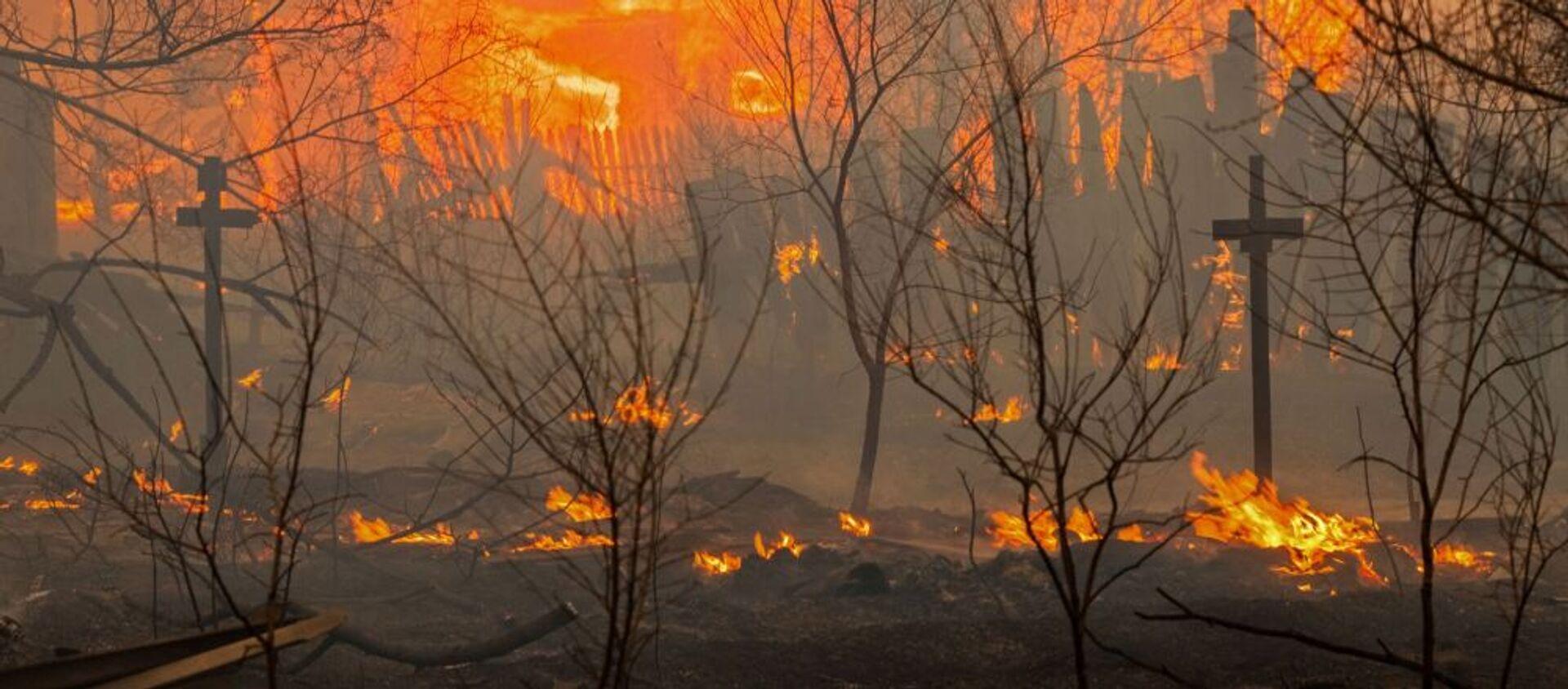Đám cháy ở ngoại ô thành phố Abakan, Khakassia. - Sputnik Việt Nam, 1920, 21.12.2017