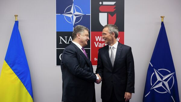 Tổng thống Ukraina Pyotr Poroshenko và Tổng thư ký NATO Jens Stoltenberg - Sputnik Việt Nam