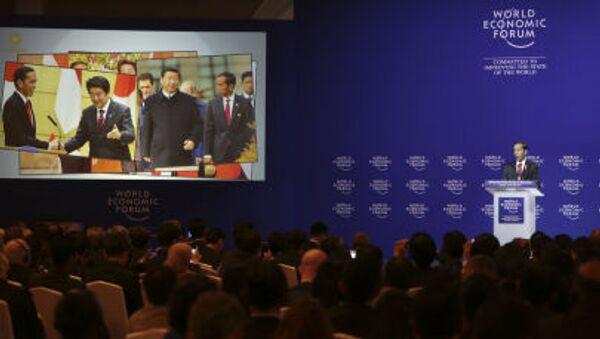 Tổng thống Indonesia Joko Widodo trong phiên họp Diễn đàn Kinh tế thế giới về Đông Á tại Jakarta - Sputnik Việt Nam
