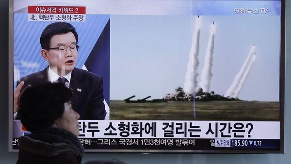Phóng sự về việc  Bắc Triều Tiên phóng tên lửa trên truyền hình Hàn Quốc - Sputnik Việt Nam