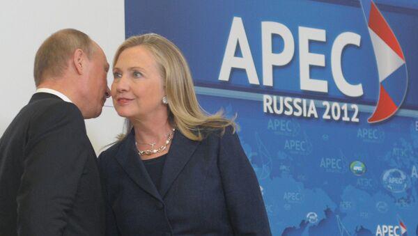 Ứng viên tổng thống đảng Dân chủ Hillary Clinton và với Tổng thống Nga Vladimir Putin - Sputnik Việt Nam