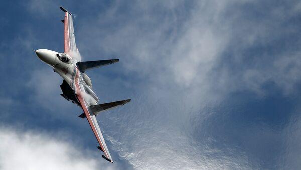 """Chiến đấu cơ đa năng Su-27 của đội thuật lái nhào lộn Tráng sĩ Nga"""" Diễn đàn quốc tế """"Quân đội-2016"""" - Sputnik Việt Nam"""