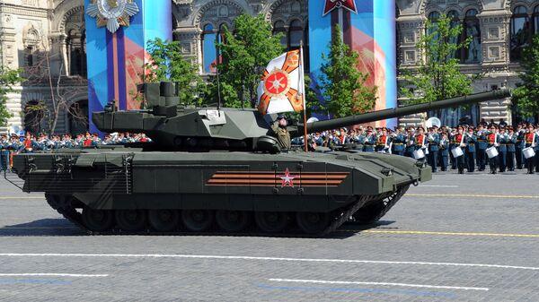 Xe tăng bánh xích T-14 trên nền tảng Armata trong cuộc diễu binh trên Quảng trường Đỏ. - Sputnik Việt Nam