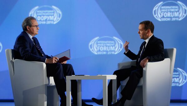 Thủ tướng Dmitry Medvedev được «Kênh Một» phỏng vấn - Sputnik Việt Nam