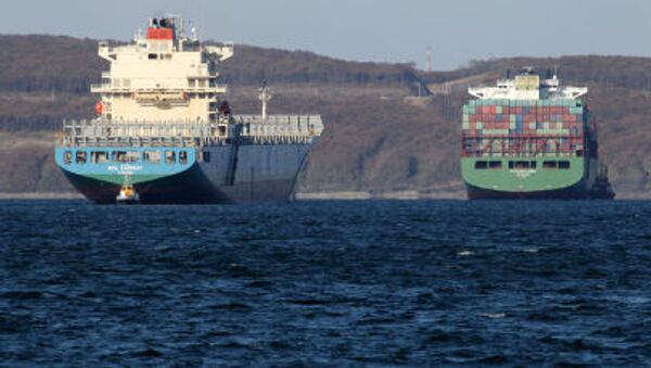 Tàu thương mại quốc tế neo tại cảng Vladivostok, vịnh Peter Vĩ đại - Sputnik Việt Nam