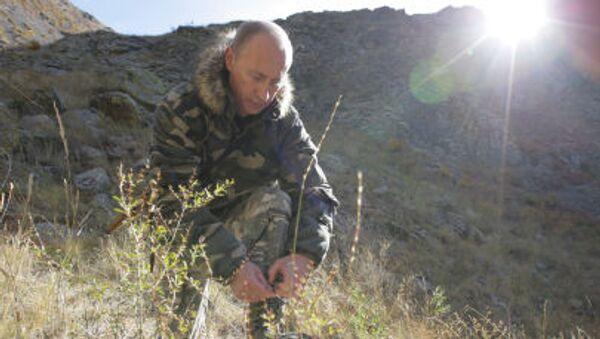 Tổng thống Nga Vladimir Putin trong bộ quân phục ngụy trang. - Sputnik Việt Nam