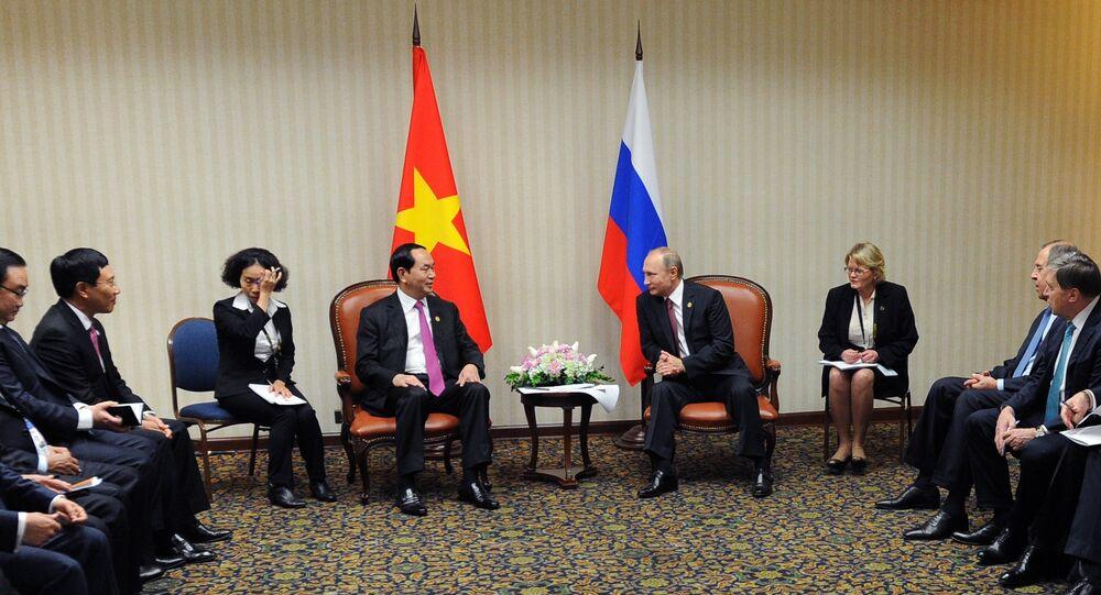 Tổng thống Nga Vladimir Putin và Chủ tịch Việt Nam Trần Đại Quang