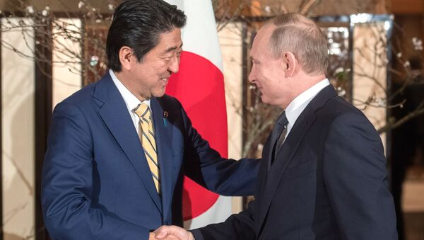 Президент РФ Владимир Путин и премьер-министр Японии Синдзо Абэ во время встречи в городе Нагато - Sputnik Việt Nam