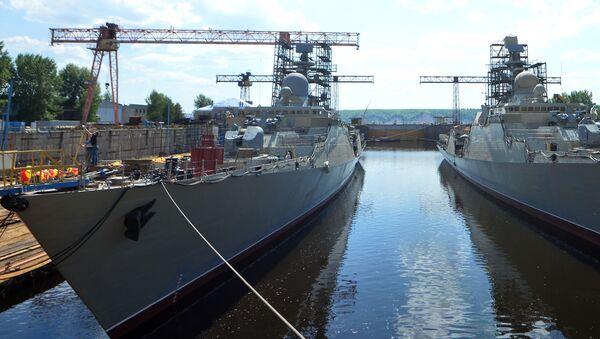 Hạ thủy khu trục hạm thứ hai thuộc đề án Gepard 3.9 ở Zelenodolsk - Sputnik Việt Nam