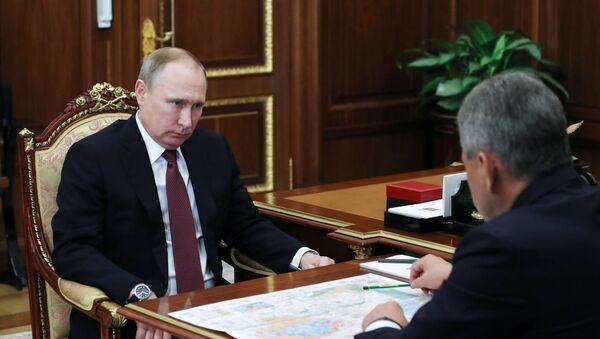 Tổng thống Vladimir Putin và Bộ trưởng Quốc phòng Nga Sergei Shoigu - Sputnik Việt Nam