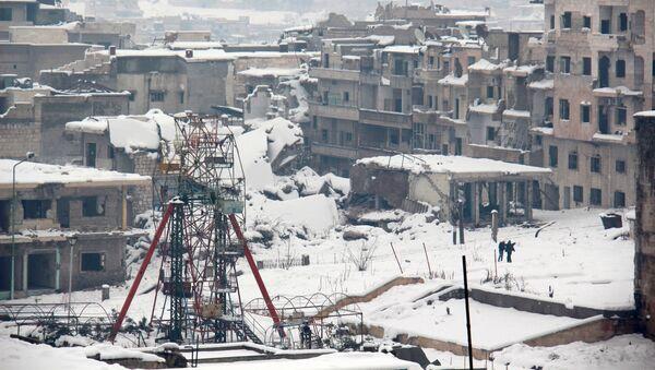 Снег в сирийском городе Мааррет-эн-Нууман - Sputnik Việt Nam