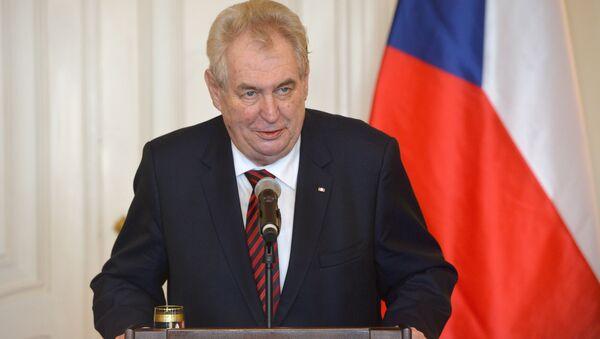 Президент Чехии Милош Земан на пресс-конференции в Праге - Sputnik Việt Nam