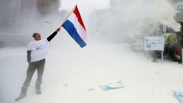 Brussels: Các nông dân phun một tấn sữa bột vào tòa nhà Hội đồng EU - Sputnik Việt Nam